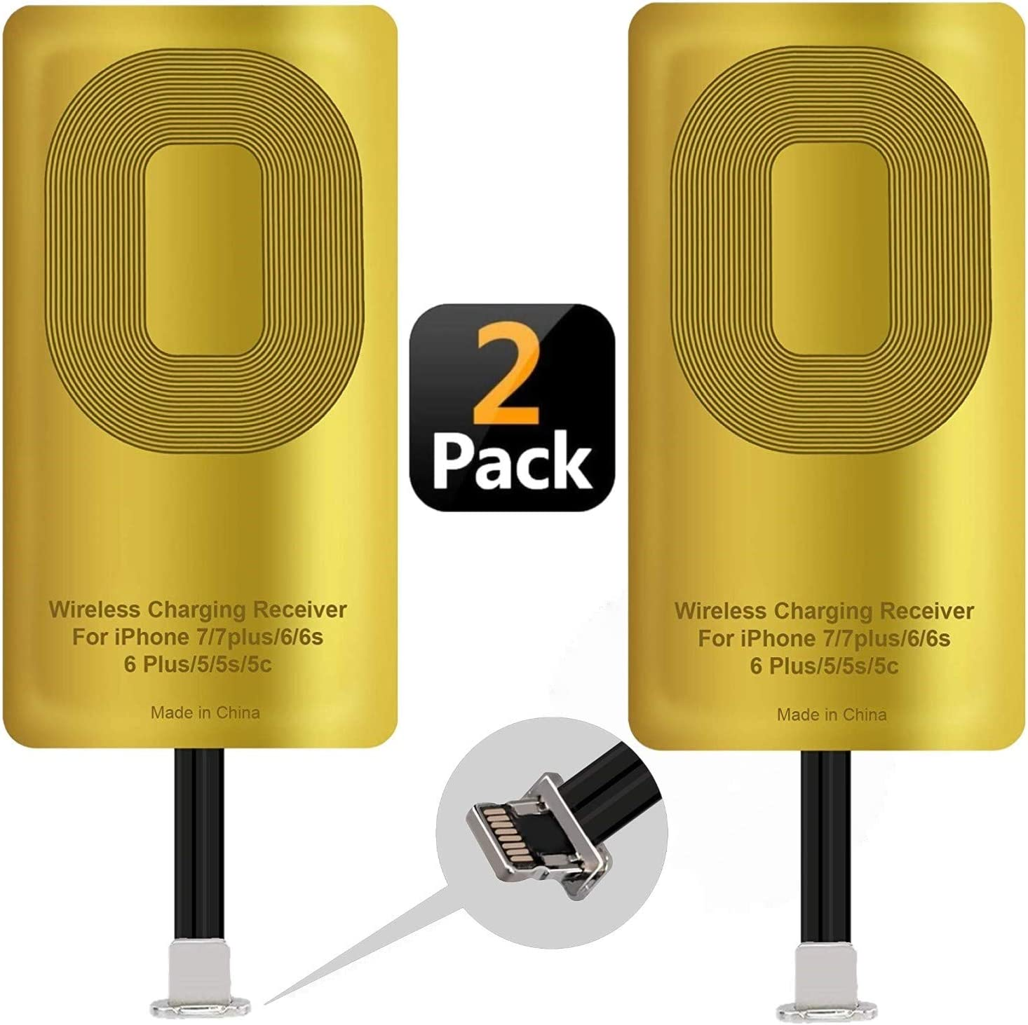 2 Pcs Fast QI Receiver Ultra-Thin Wireless Charging Receiver Adapter Patch for iPhone 7/7 Plus/6/6 Plus/6s/6s Plus/5/5s/5c 5w 1000mAh Compatible All Wireless Charger(2 pcs)