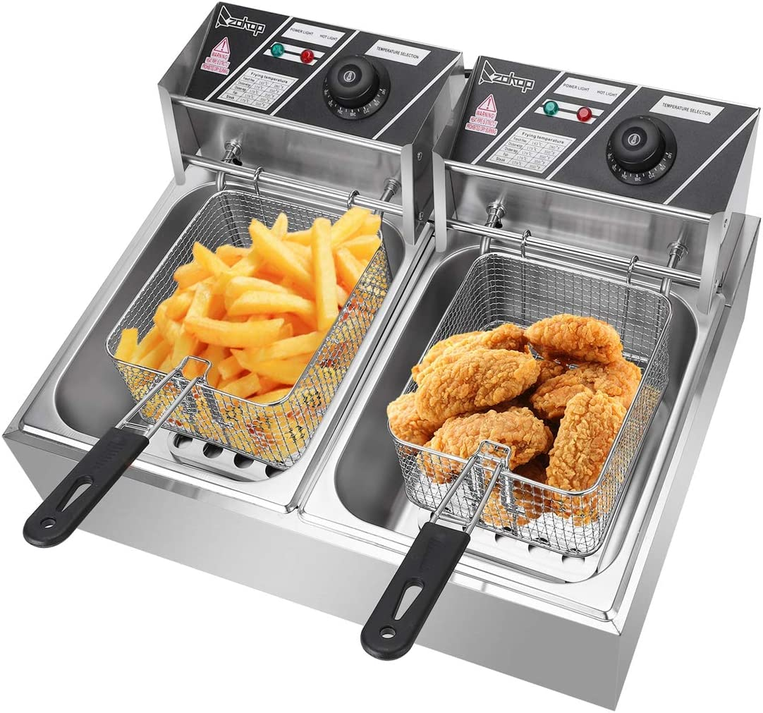 5000W MAX 110V 12.7QT/12L Stainless Steel Double Cylinder Electric Fryer US Plug Durable Deep Fryer, Countertop Food Cooking & French Fries Fryers