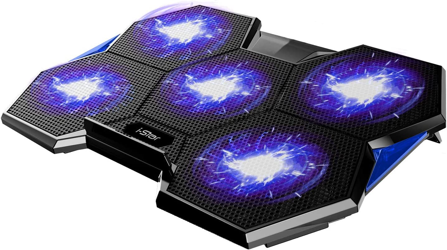 Laptop Cooler Pad 5 Quiet Fans LED Lights Laptop Cooling Pad for 12 to17 Inches Laptops with 2 USB Connection i-Star Rapid Cooling Action Metal Mesh Slim Portable Adjustable Retractable Stand(Blue)