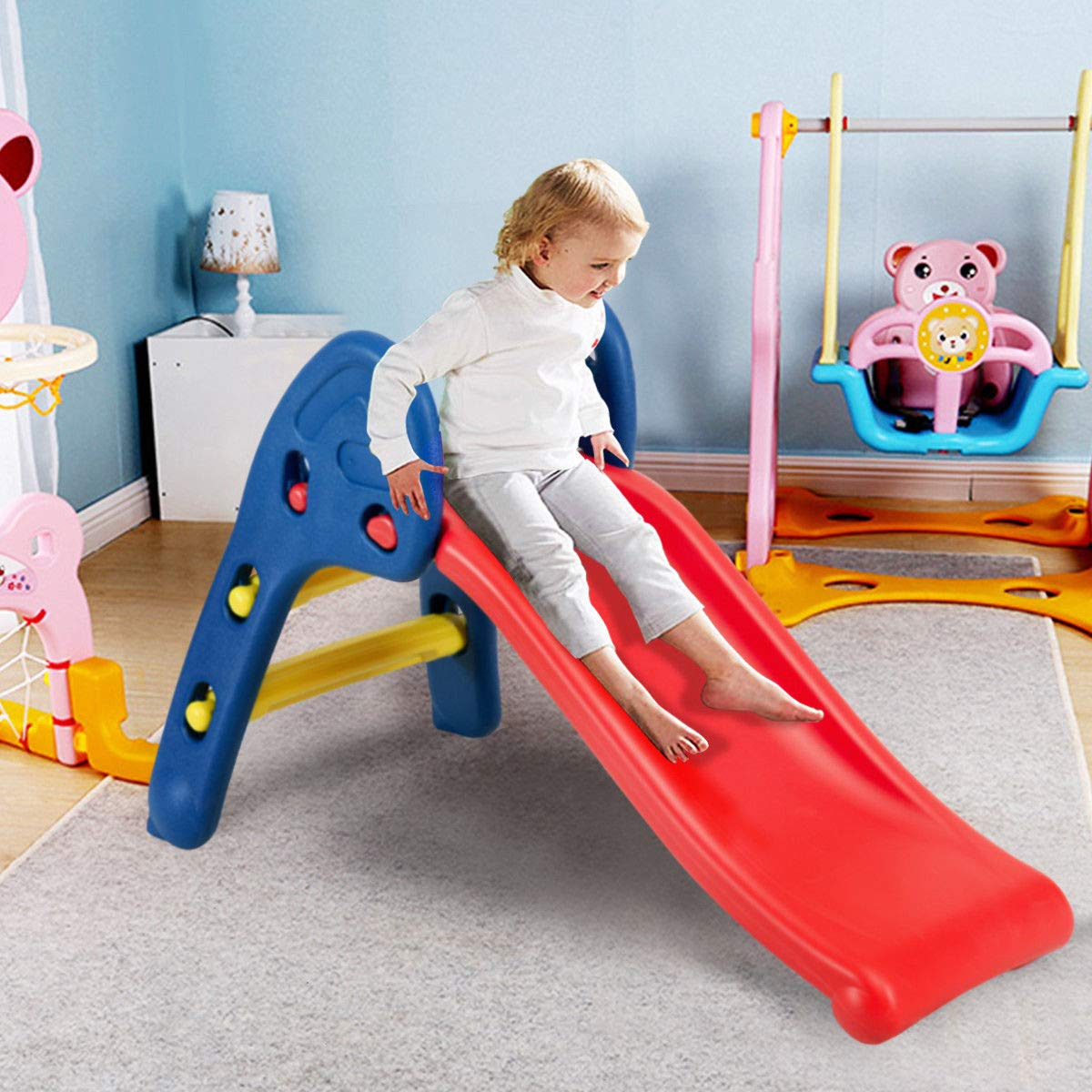 Heavens Tvcz Slide Plastic Folding Kids Fun Toy Up-Down Children Play Fun Step Rails Toddler Big High Side Portable Outdoor Indoor by Heavens Tvcz (Image #3)