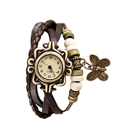 GIRISA Casual Vintage Multiplayer Butterfly Faux Leather Analogue Multicolour Dial Wrist Watch for Women