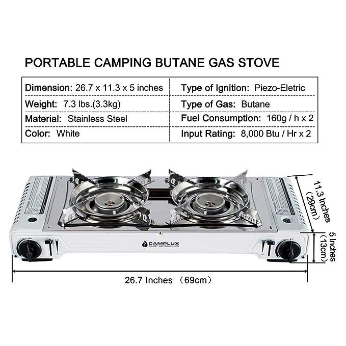 Amazon.com: Camplux - Estufa portátil de gas butano con ...