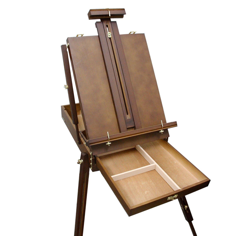 Art Supply Walnut Coronado French Style Easel /& Sketchbox with 12 Drawer U.S Wooden Pallete /& Shoulder Strap