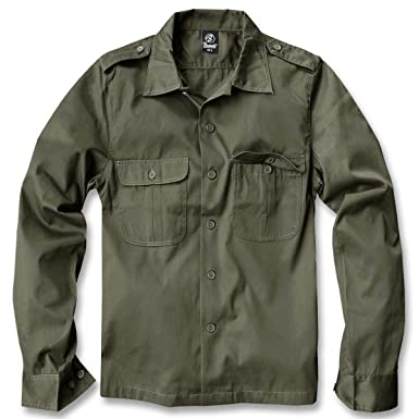 Brandit US Camisa Manga Larga verde oliva L : Amazon.es: Ropa y ...