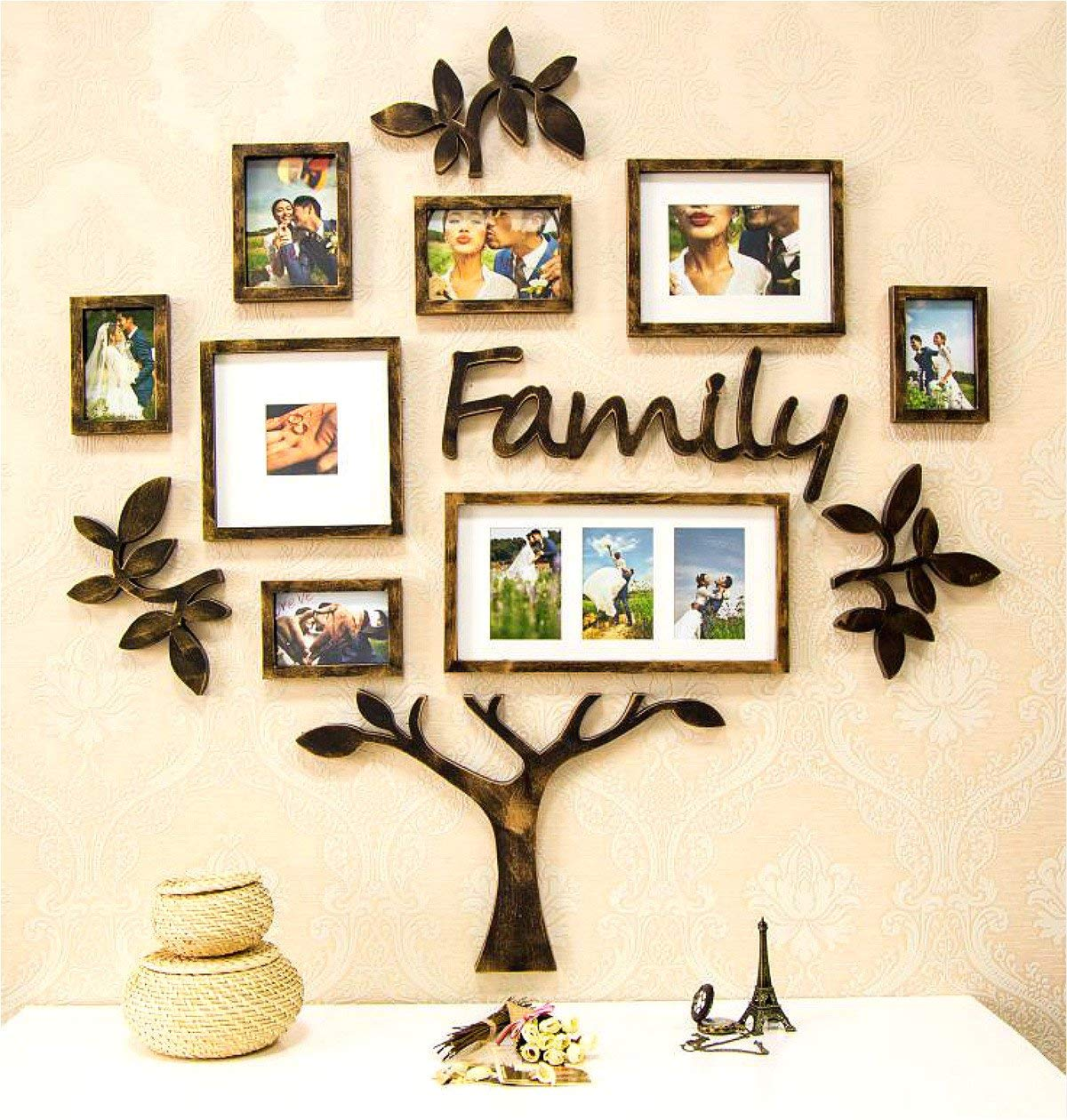 Picture Frame Set of Tree Shape Brown Brush Finish on Wall Art Decoration Sticker in Family Living Room and Bedroom(Tree Brown) by F&A=R