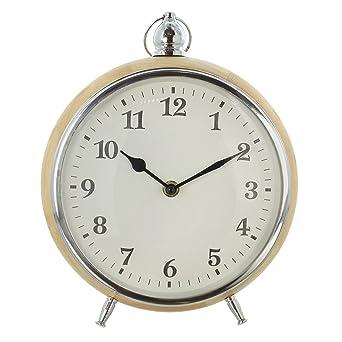 Reloj de sobremesa, chic y moderno, agujas nostalgique sobre esfera color blanco, Caja