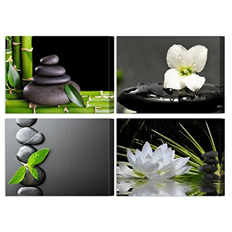 Vvovv wall decor 4 panels black zen stone poster canvas wall art prints white orchid