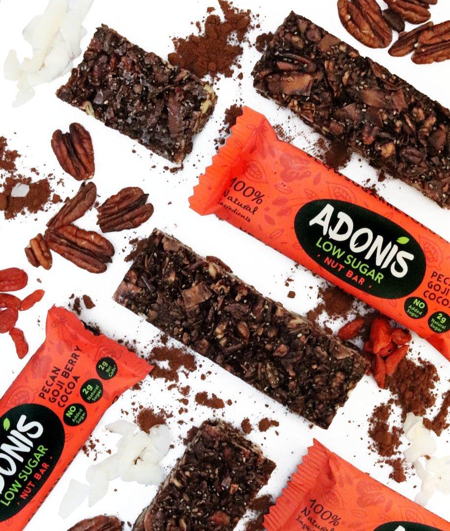Adonis Low Sugar - Barritas de Pacanas Crujiente Sabor de Cocoa | 100% Natural, Baja en Carbohidratos, Sin Gluten, Vegano, Paleo (25): Amazon.es: Salud y ...
