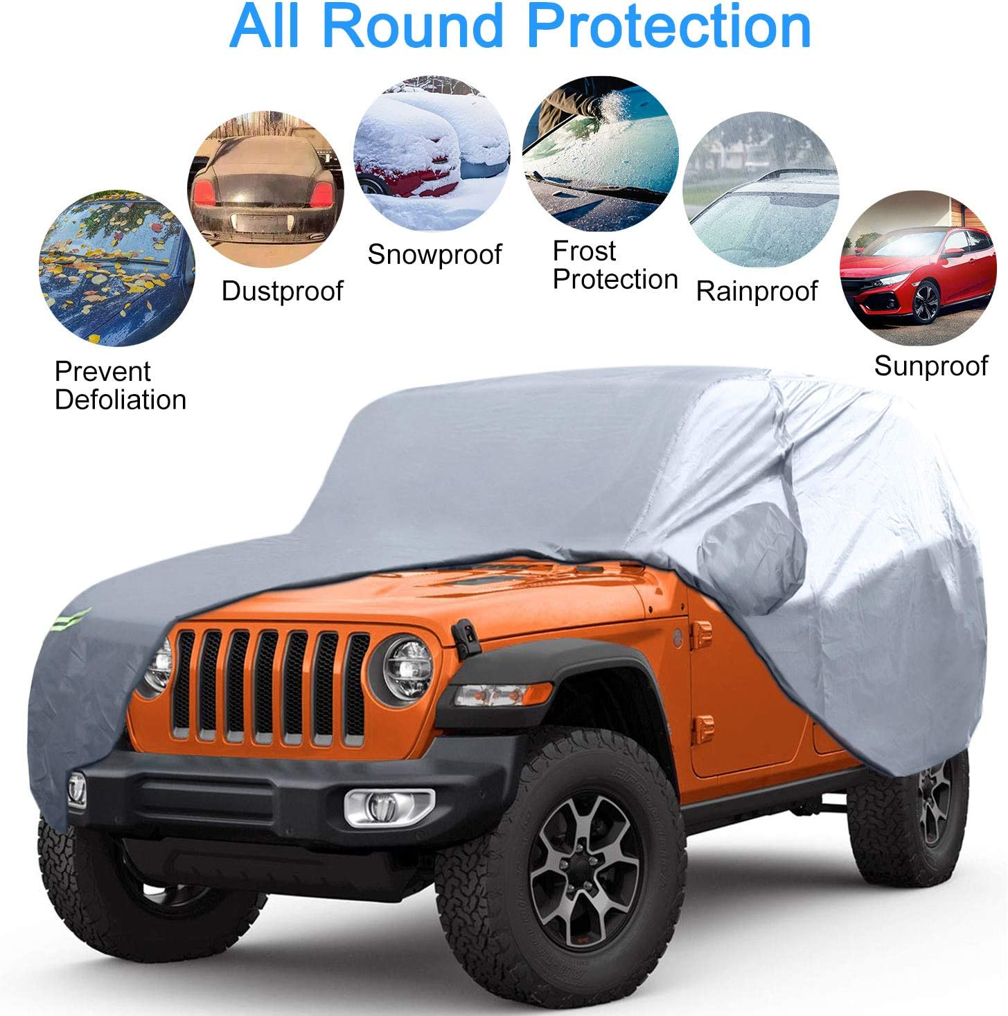 KAKIT 210D Oxford Rain Cover for Jeep Wrangler 4 Door Fit CJ,YJ TJ /& JK 2007-2020 Driver Door Zipper Anti-Theft Lock Included