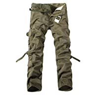 Maweisong Mens Cotton Multi Pockets Washing Casual Loose Cargo Pants