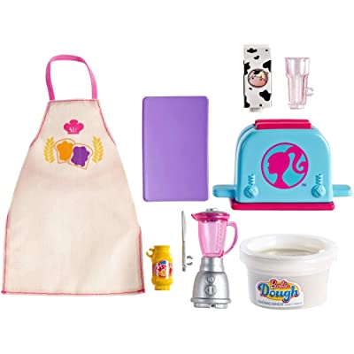 Barbie Cooking & Baking Accessory Pack with Breakfast-Themed Pieces, Including Apron for Doll, Toaster Mold & Container of Molded Dough, Ages 4 Years Old & Up, Multi: Toys & Games
