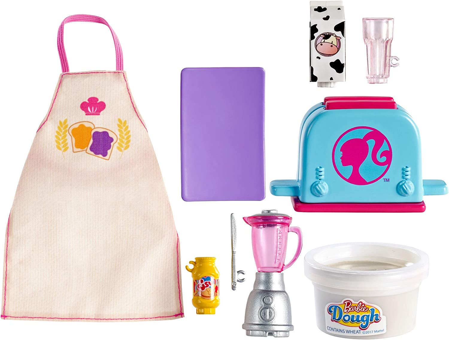Barbie Cooking & Baking Accessory Pack with Breakfast-Themed Pieces, Including Apron for Doll, Toaster Mold & Container of Molded Dough, Ages 4 Years Old & Up, Multi