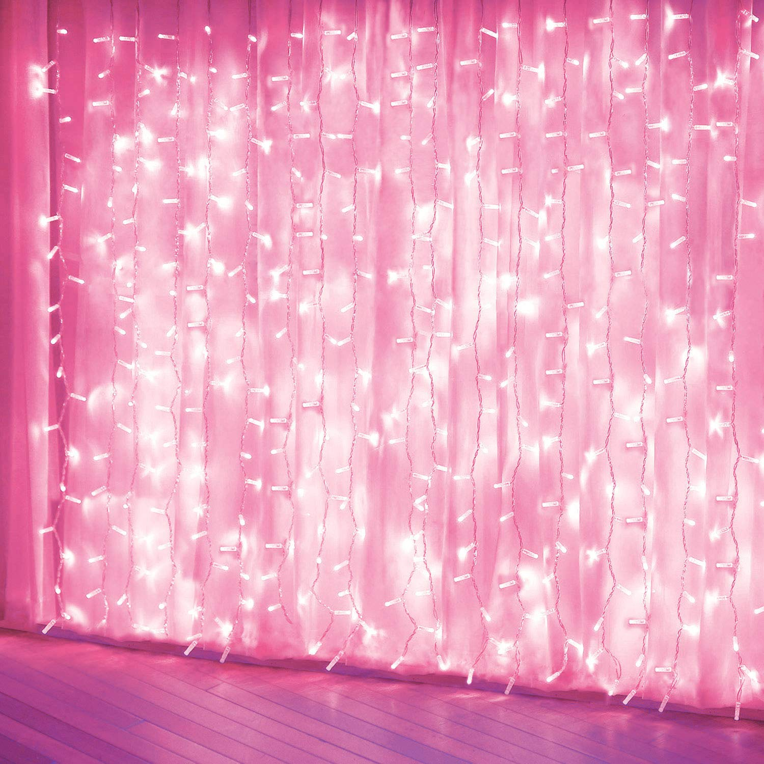 Curtain Lights, Pink 8 Modes LED String Lights for Garden, Girls' Room, Party, Window and Wall Decorations