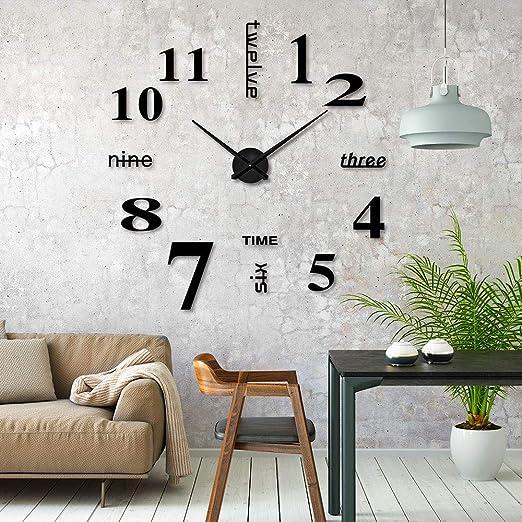 ikalula DIY Wanduhr, DIY 3D Wanduhren Modern Design Acryl Wanduhren  Wandtattoos Dekoration Uhren für Büro Wohnzimmer Schlafzimmer Uhr Geschenk  Home ...