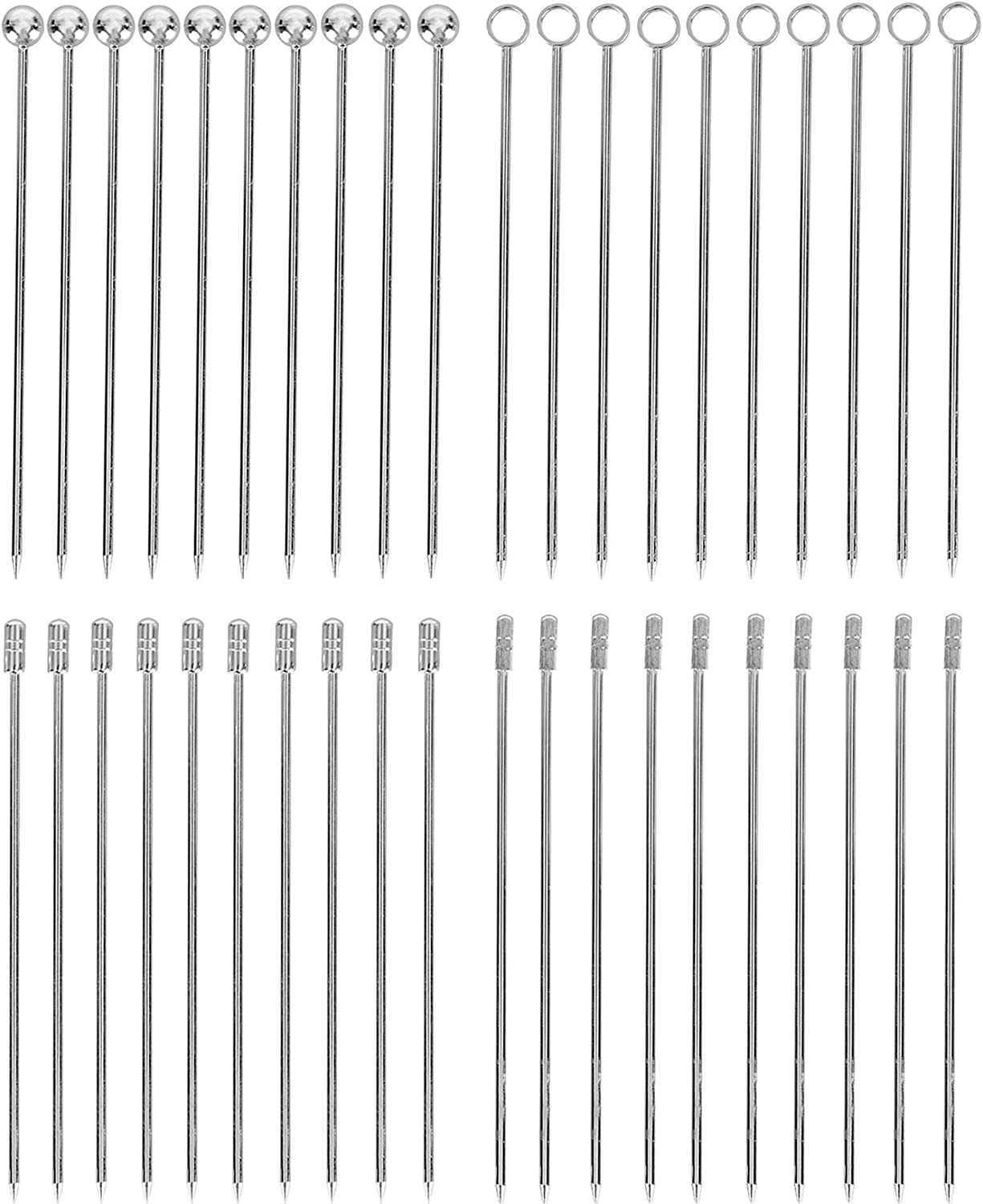 Yesland 40 Pcs Stainless Steel Cocktail Picks, 4-1/4 Inches Martini Picks Set & Reusable Fruit Toothpicks for Cocktail Garnishes and Food