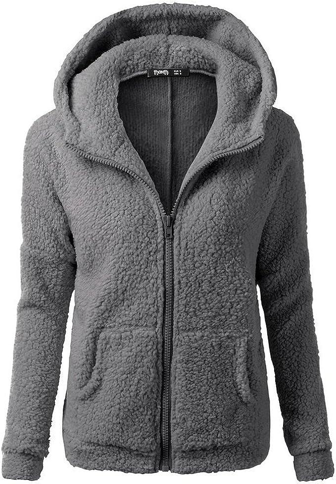 Women Winter Warm Hooded Short Coat Ladies Long Sleeve Solid Color Wool Jacket Sweater Fashion Zipper Cotton Outwear Size