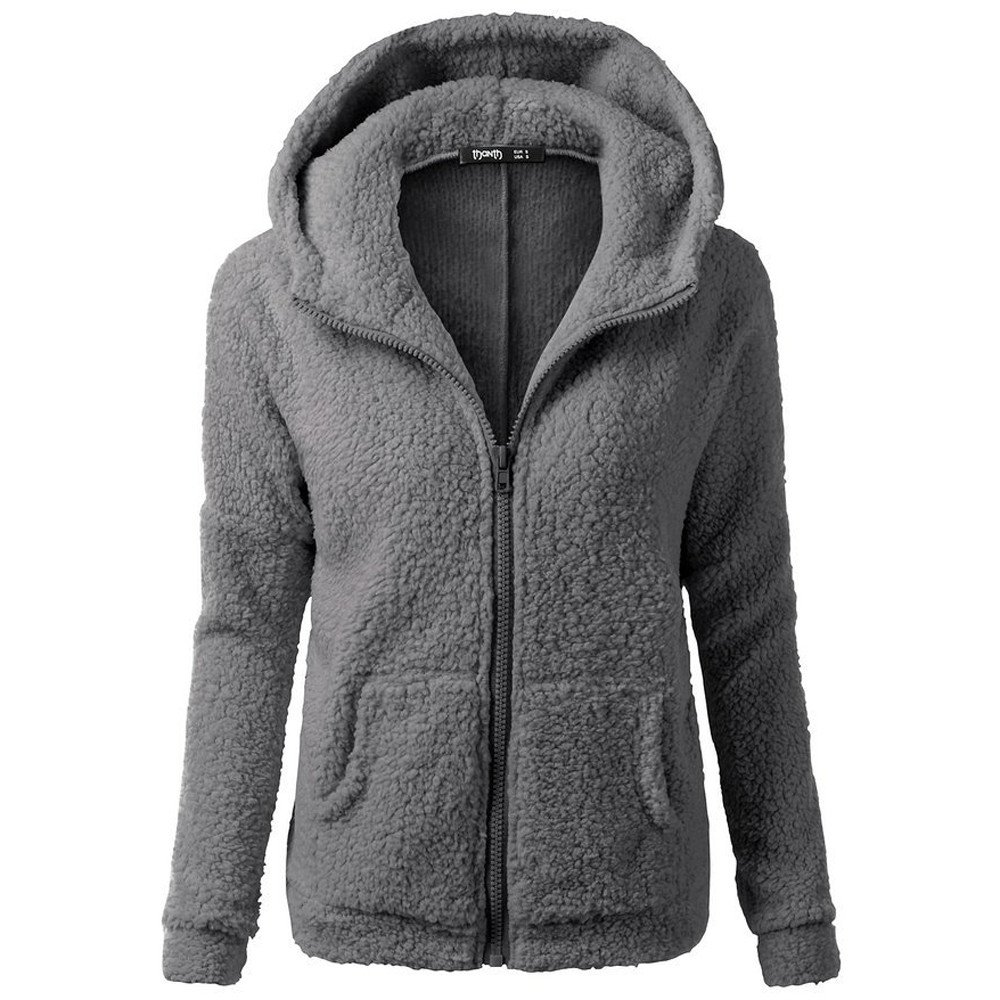 MIRRAY Damen Mantel Solide Kapuzenpullover Winter Warm Wolle Zipper Jacke Baumwolle Oberbekleidung