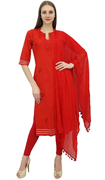 6b719ee9b0 Atasi Readymade Salwar Pants Embroidered Red Cotton Salwar Kameez Suit  Indian Dress - 4