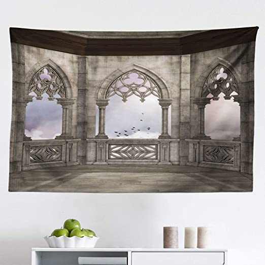 Amazon Com Lunarable Gothic Tapestry Medieval Stone Balcony