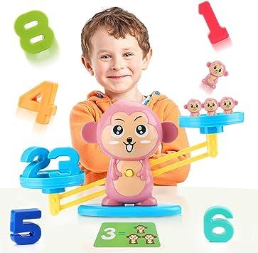 Fansteck Balanza Juguete niños, Juego Montessori de Números Aprendizaje Preescolar, Apredizaje Matemáticas, Aprender a Contar y Sumar numeros, Jueguete Educativo Temprano. Divertida Forma de Monos.: Amazon.es: Juguetes y juegos