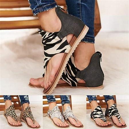 Ashopfun Sandalias de Chancletas con Estampado de Leopardo Retro para Mujer - Mujer Chanclas Las Sandalias Planas