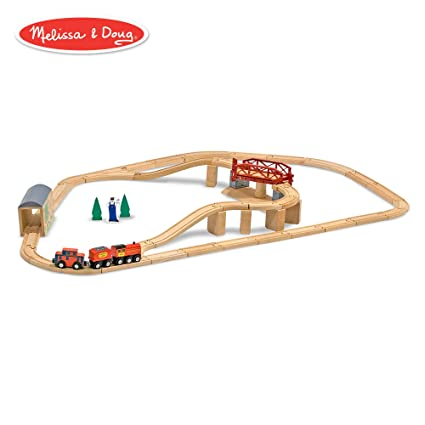 Melissa Doug Children S Swivel Bridge Wooden Train Set 47 Pieces