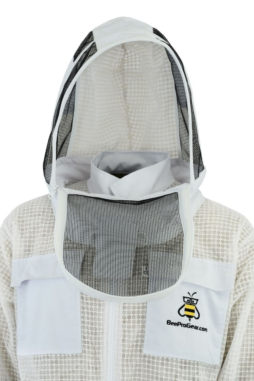 Bee Suit 3 Layer Ultra Ventilated Safety Protective Unisex White Fabric Mesh Beekeeping Jacket Beekeeper Outfit Fency Veil-XL by Bee Suit (Image #2)