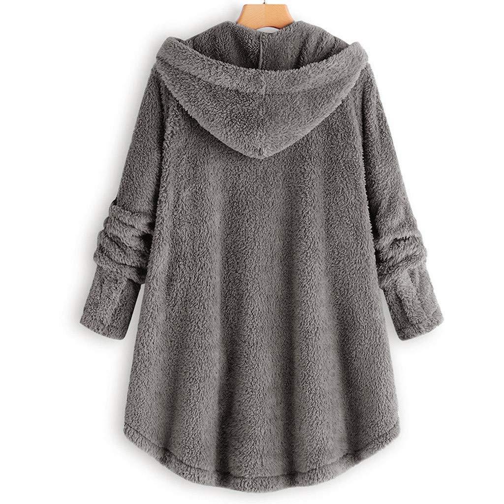 WUAI-Women Faux Fur Hoodie Jackets Long Shaggy Coat Button Fluffy Pullover Loose Sweater Outwear