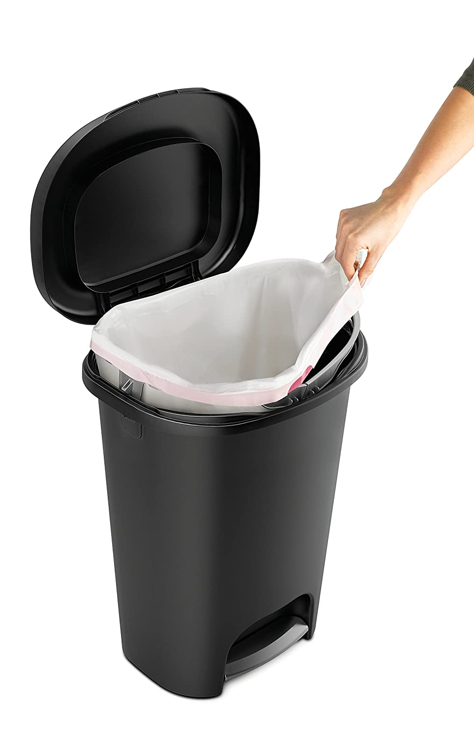 amazoncom rubbermaid stepon wastebasket 13 gallon black home u0026 kitchen