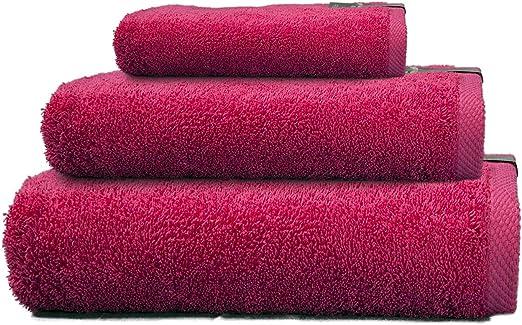 Cabetex Home - Juego de Toallas 100% Algodón Peinado - 550 Gr/m2 - Tres Piezas - Toalla de baño, Lavabo y Tocador (Fucsia): Amazon.es: Hogar