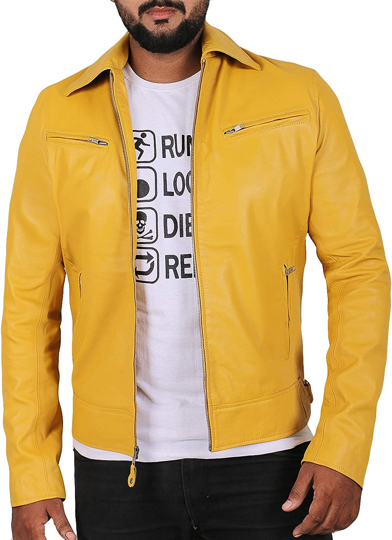 1510059 Lasumisura Mens Black Genuine Lambskin Leather Jacket