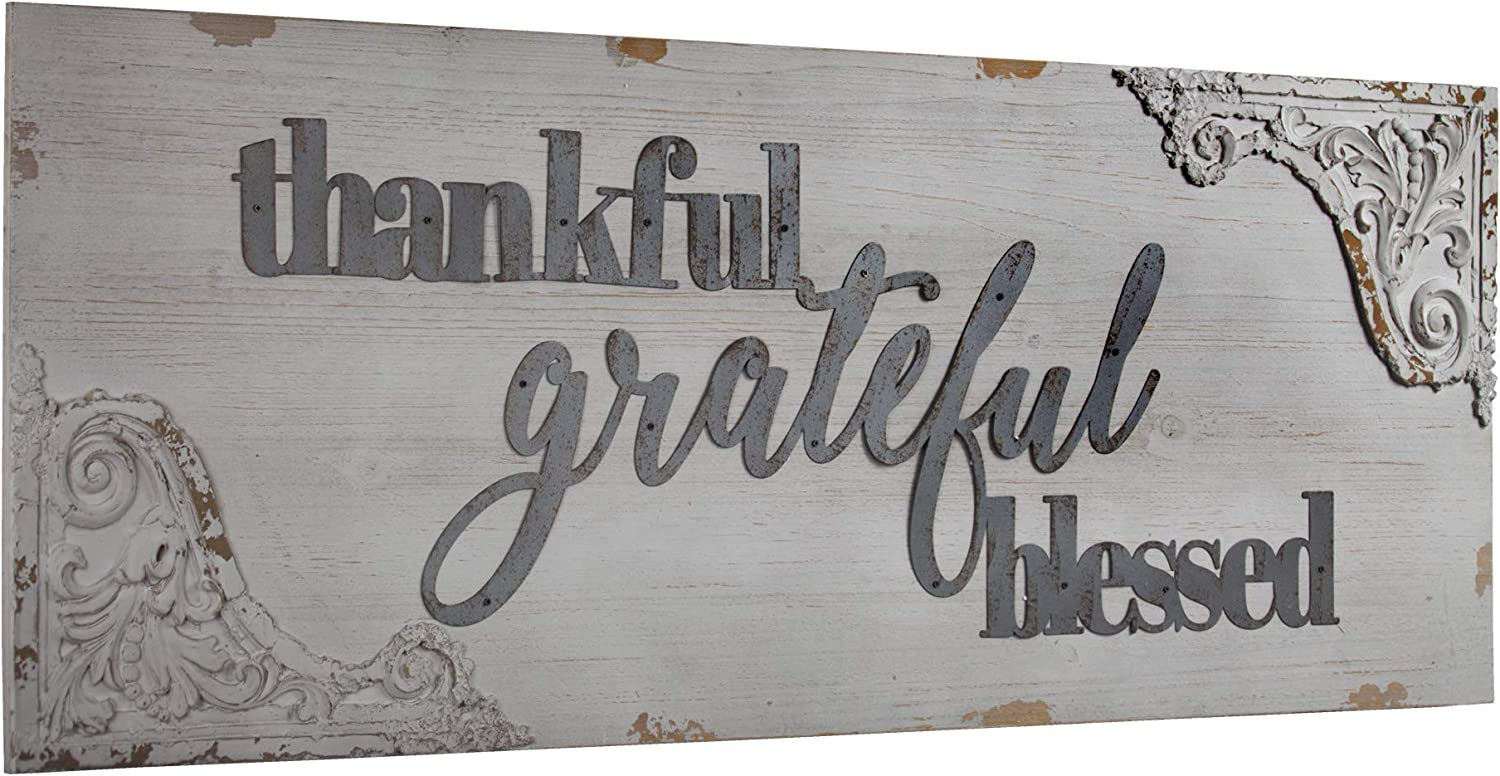 Farmhouse Decor Thankful Grateful Blessed Rustic Wood Sign 4 Ft Long