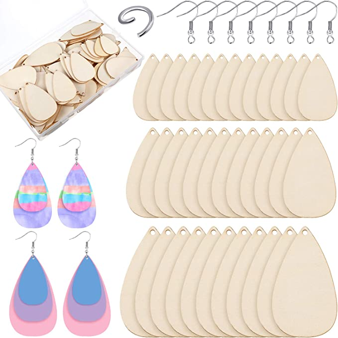 available in 1 or 2 holes for hanging charms Hexagon Unfinished Wood Frames for Earrings or Pendants Pack pf 12 pieces with storage box