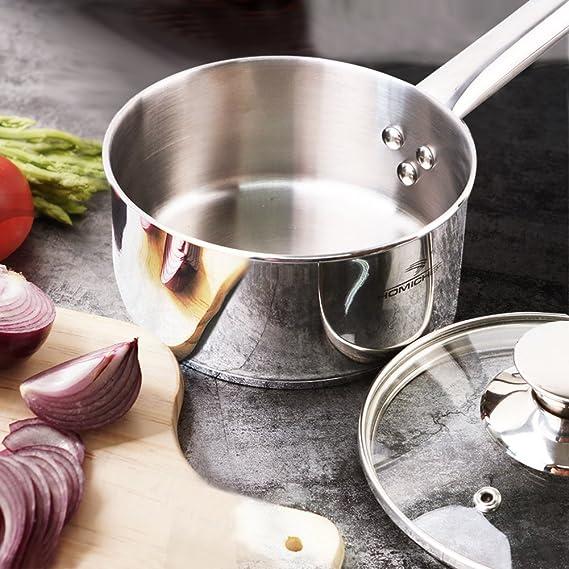 Homi Chef espejo pulido acero inoxidable sin níquel 1 Qt (Quart cazo con tapa (no tóxico) antiadherente revestimiento, 5.5 inch) - Mini cacerola de cocina ...
