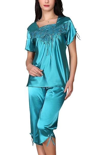 410aab5462a2 YAOMEI Camisón para Mujer Camisones Raso Satin Pijamas, Bordado ...