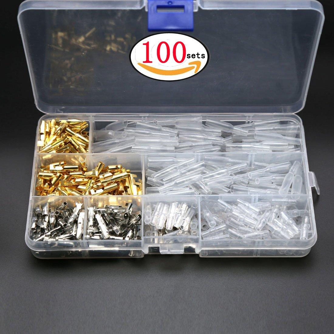 100sets 3.9 MMワイヤコネクタ断熱材でカバー真鍮Bulletオス&メスターミナルbox-packed B07C6FL8CZ