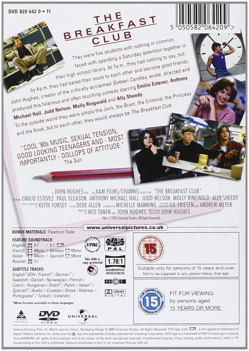 the breakfast club dvd 1985 co uk molly ringwald the breakfast club dvd 1985 co uk molly ringwald emilio esteves paul gleason anthony michael hall judd nelson ally sheedy emilio estevez