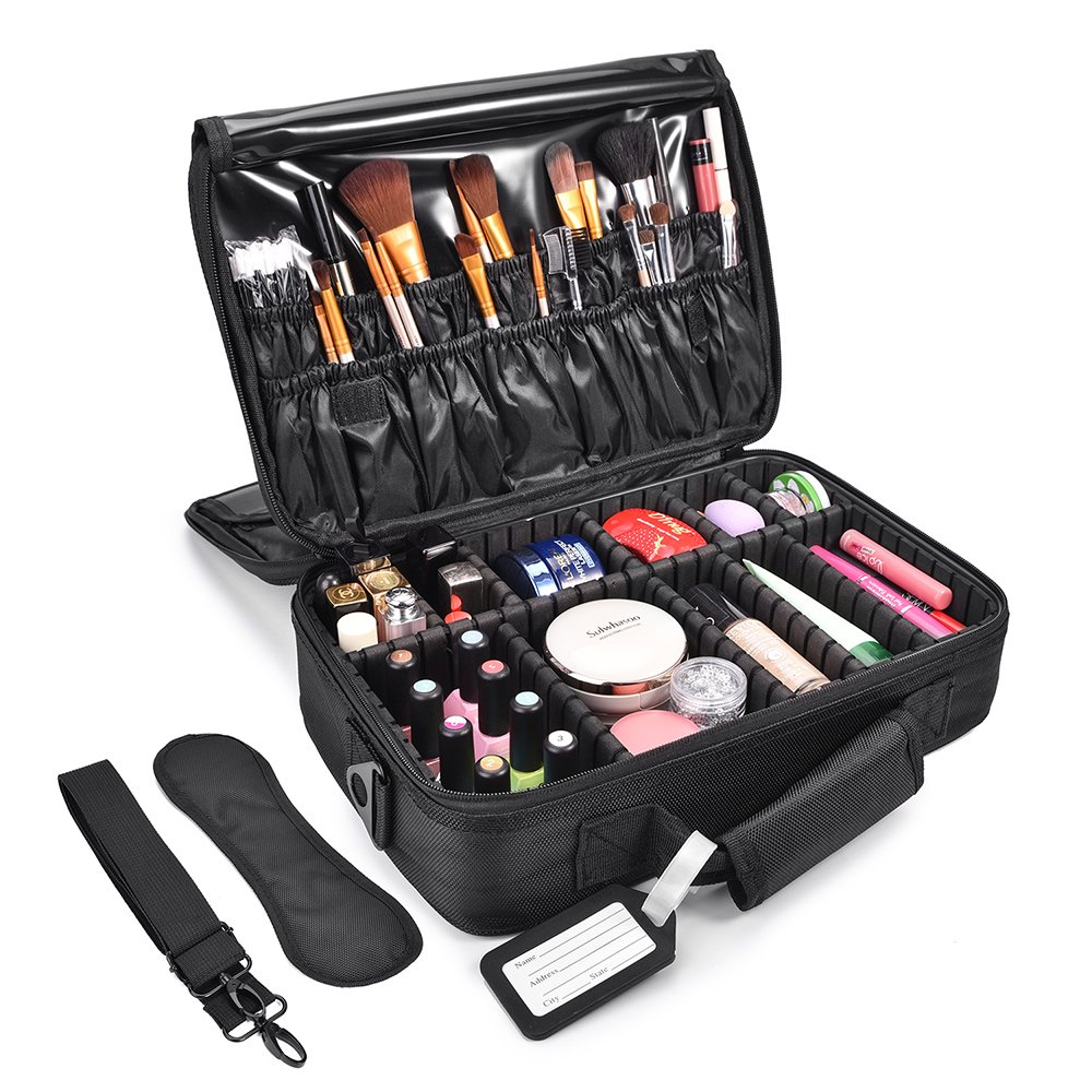 Makeup Train Cases, MelodySusie Travel Makeup Organizer Bag Cosmetic Storage Cases 3 Layers with Adjustable Shoulder Strap