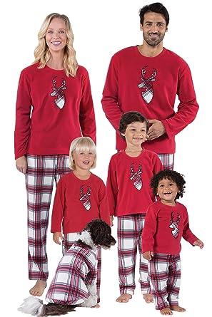 a1b1d088e13ea Correspondant Tenue Famille Assortie Ensemble Pyjama Noel Cerf Femme Homme  Garçon Fille du Nouveau-né Bébé Ecossais Pyjamas à Deux Pièces Set Sweat et  ...