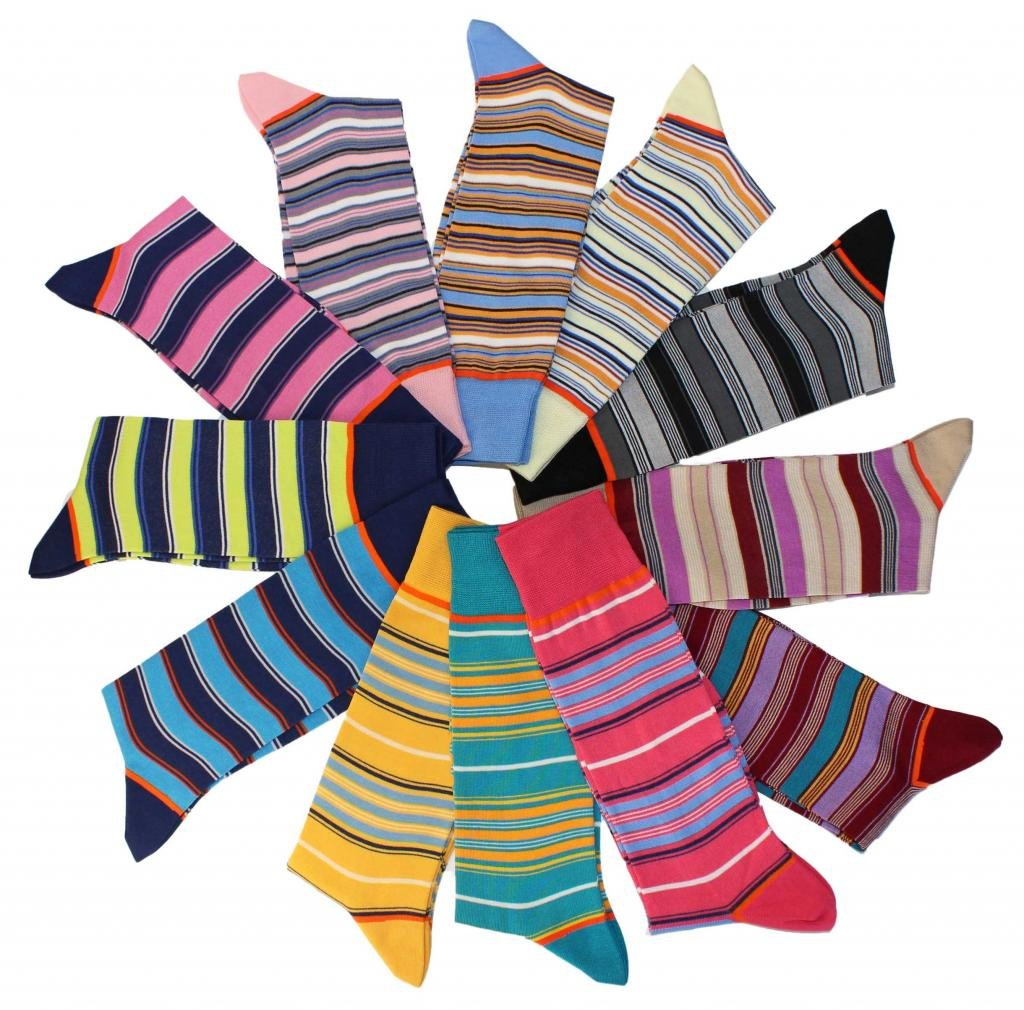 Stanley Lewis 'Seriously Striped' Box of Men's Socks - 12 Pair