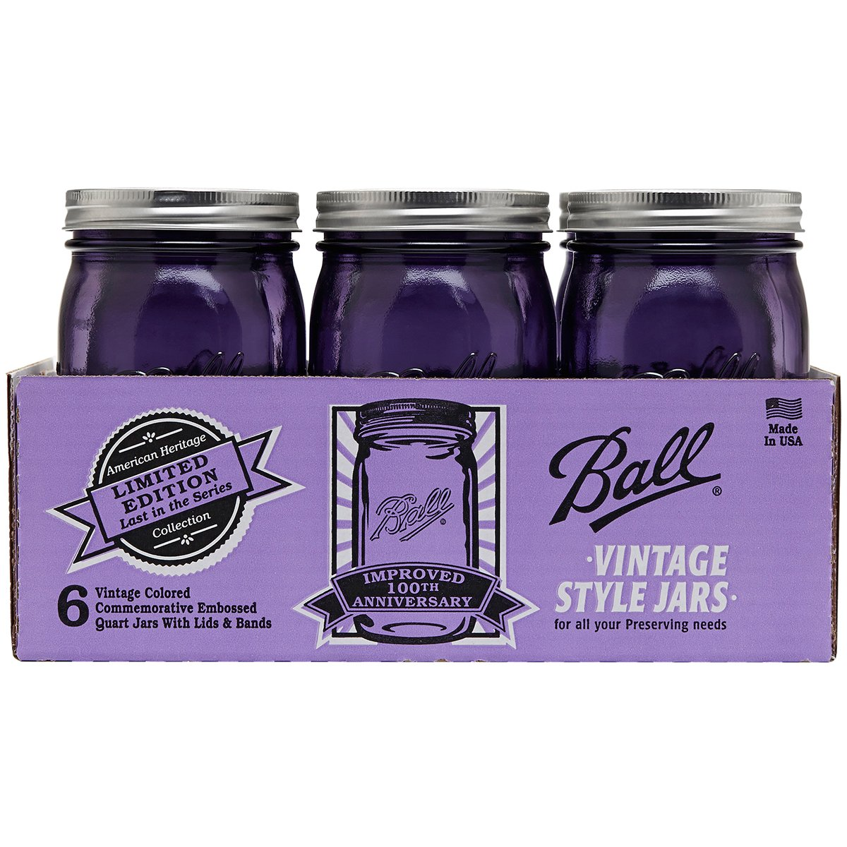 Ball Jar Ball Heritage Collection Quart Jars with Lids and Bands, Purple, Set of 6 by Ball Jar (Image #1)