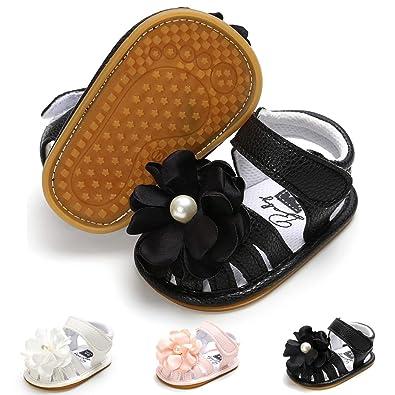 875edffe2f9d5 BENHERO Infant Baby Girl Summer Sandals with Flower Non-Slip Soft Sole Newborn  Toddler First