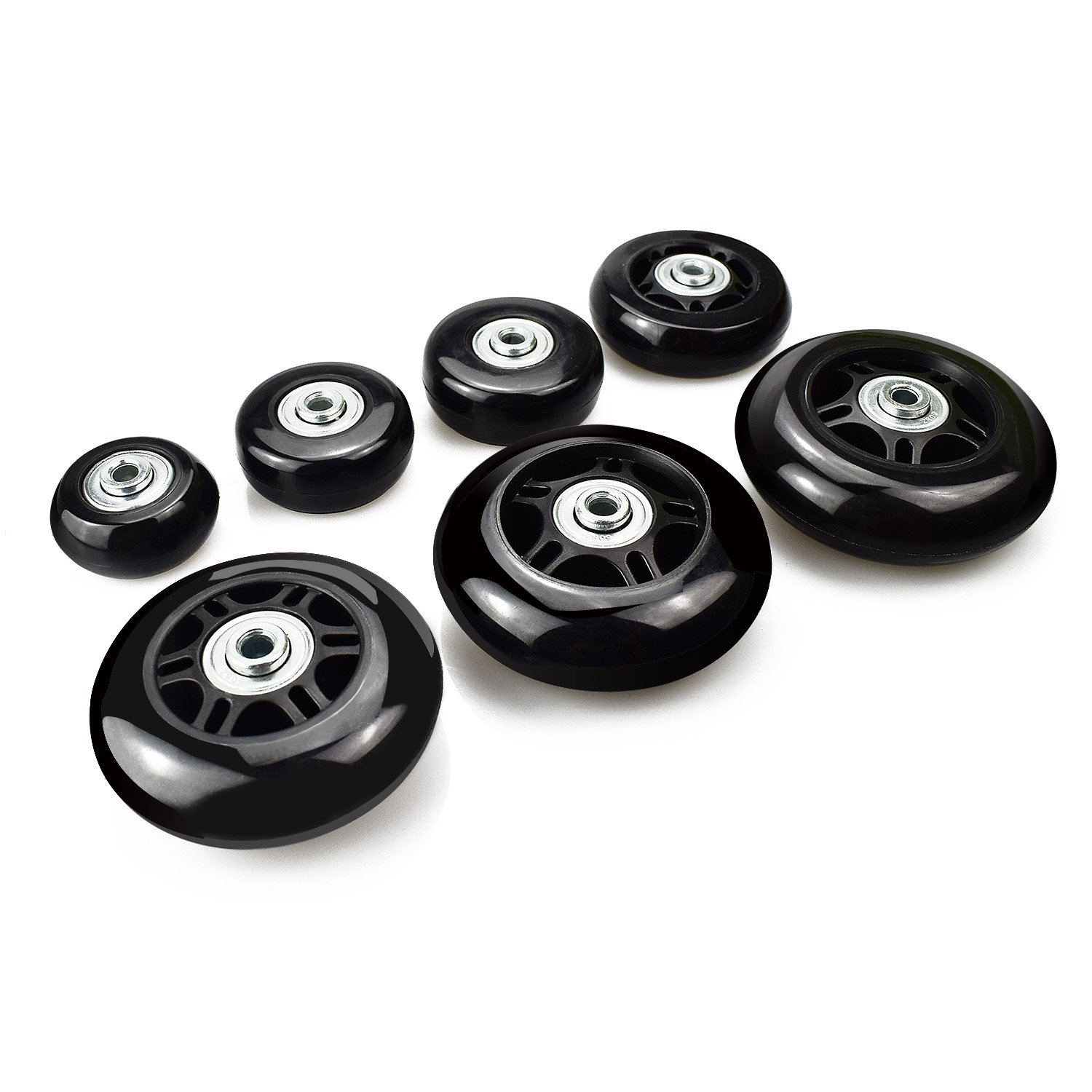 B.LeekS Luggage Suitcase Wheels with ABEC 608zz Bearings, Inline Outdoor Skate Replacement Wheels with Multiple Sizes, One Set of (2) Wheels76mm × 24mm