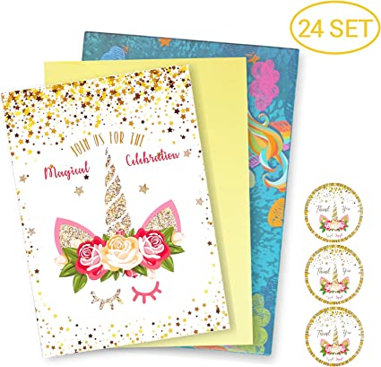 24 Pack Glitter Horn Unicorn Invitation Cards Kits Parties Invitation Supplies Baby Shower Birthday And Special Events Invite Cards With Envelopes