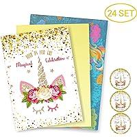 WAVEJOE 24 Pack Glitter Horn Unicorn Invitation Cards