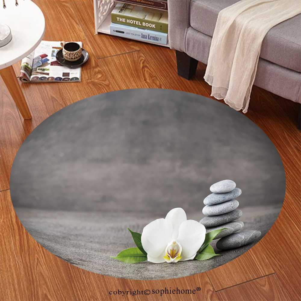 Sophiehome Soft Carpet 302266781 Spa stones and white orchid on the grey background Anti-skid Carpet Round 47 inches by sophiehome (Image #7)