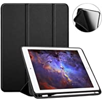 ABOUTTHEFIT Slim Shell Lightweight Soft TPU Back Protective Stand Cover with Auto Wake/Sleep for Apple iPad 2018 9.7 Inch 6th Gen (Black)
