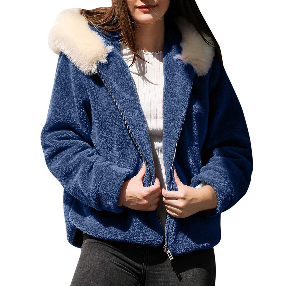 Thenxin Womens Warm Fuzzy Fleece Hooded Coat Long Sleeve Zipper Autumn Winter Jacket Outwear(Blue,XL) by Thenxin