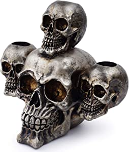 Kocris Casa Skull Candlestick Candle Holder Halloween Party Gothic Candleabra Décor Decoration Skeleton Day of The Dead Heads Scary Decorative