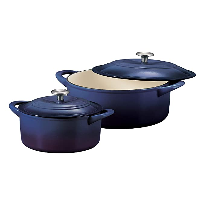 Amazon.com: Tramontina 80131/335DS Enameled Cast Iron Covered Round Dutch Oven Combo, 2-Piece (7-Quart & 4-Quart), Blue: Kitchen & Dining